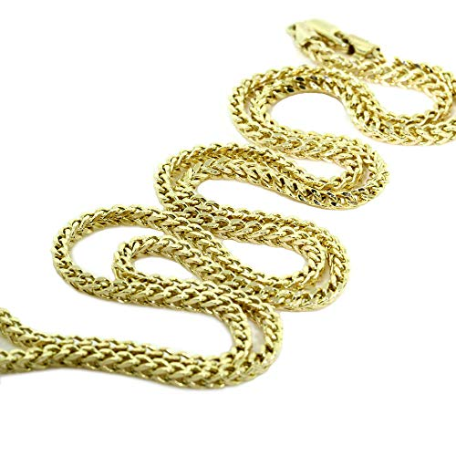 Verona Jewelers 14K 2MM Yellow Gold Franco Square Box Link Chain- Available in Sizes 18-30 (30) ()