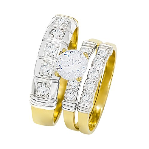 (14k Two Tone Gold Round Cubic Zirconia Bridal Wedding Trio Ring Set (1.57 cttw) - Style 27)