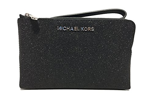 Michael Kors Jet Set Travel Double Zip Wristlet Black - Glitter Kors Michael