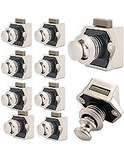 WMLBK Keyless-kast, 10 stuks, metalen drukknop, voor camper, caravan, bestelwagen, jacht, kastdeur, parelnikkel, 10 stuks