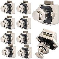 WMLBK Keyless-kast, 10 stuks, metalen drukknop, voor camper, caravan, bestelwagen, jacht, kastdeur, parelnikkel, 10…