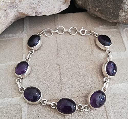 (Amethyst Bracelet 925 Sterling Silver Semi Precious Stone Wonderful Bracelet Elegance Bracelet One Of A Kind Purple Bracelet Anniversary Bracelet Handmade Bracelet Elegant Bracelet Boho Chic )
