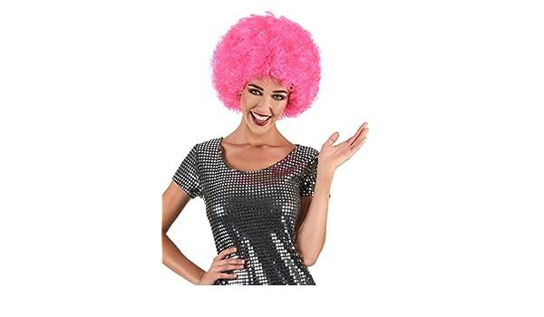 Peluca payaso afro rosa fluo adulto 160 g - Única: Amazon.es: Juguetes y juegos