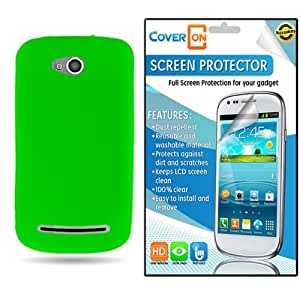 CoverON Coolpad Quattro 4G Silicone Rubber Soft Skin Case Cover Bundle with Clear Anti-Glare LCD Screen Protector - Neon Green