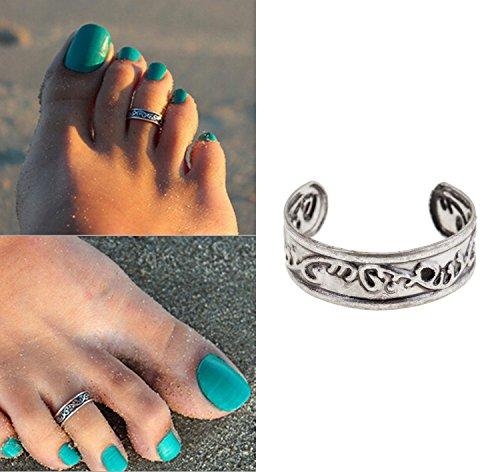 Gorgeous Silver Colored Adjustable Toe Ring Toering With Stylish Carvings Carved Ornaments Decorations (Ring Stylish Toe)