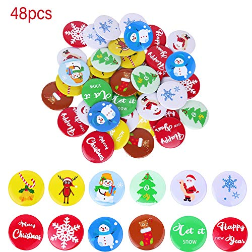 48PCS Button Pins for Christmas Party Favors,Christmas Badge Gifts for Kids Adults Stocking Stuffers,Fun Gift, Party Toys, Goody Bag Favors