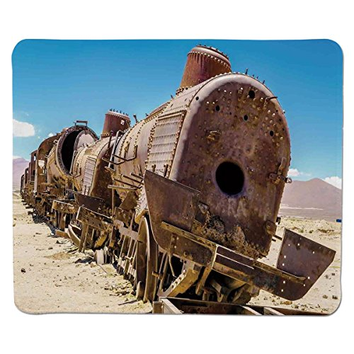 tom Printed Mousepad [ Vintage,Rusty Old Abandoned Steam Train Locomotive Cemetery Railroad Wreck Picture Print Decorative,Blue Brown ] Stitched Edge Non Slip Rubber ()