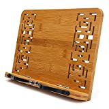 Bamboo Book Stand - wishacc Reading Rest Holder Cookbook Cook Stand/Foldable Tablet PC Textbook/Music Document Stand/Desk Bookrest with Retro Hollow Elegant Pattern Holder