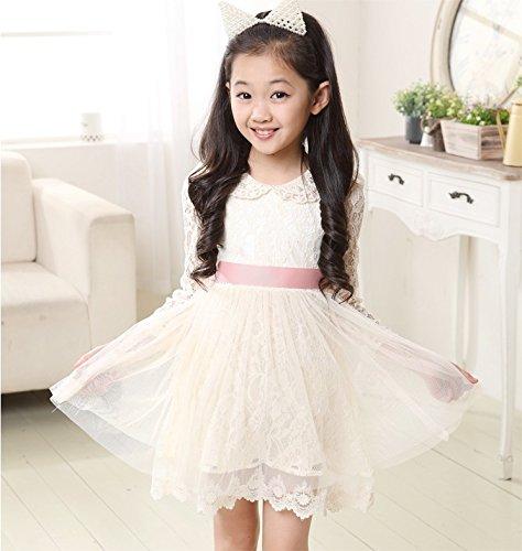 c54fcfe8ea7ef Amazon.co.jp: ComUnited ドレスワンピース ホワイト 可愛い女の子 6 ...