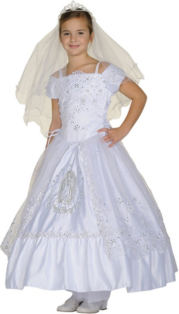 First Communion Flower Girl Dress & Batpism Collection for Big Girl White 12 CC 2902 by BNY Corner