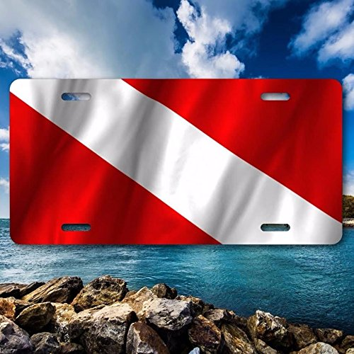 (SCUBA DIVING Diver Waving Flag Metal Aluminum Vanity License Plate Tag New)