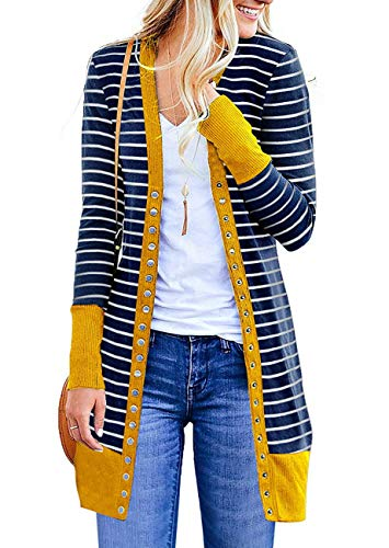(MYIFU Women's V Neck Long Sleeve Striped Snap Button Down Contrast Color Ribbed Cardigan (Yellow, X-Large))