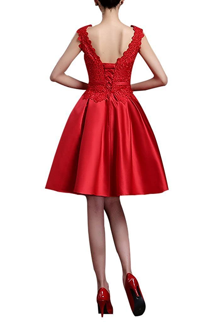 Jdress Womens Lace Evening Dresses Ball Gowns Knee Length Wedding Dress Cocktail Gowns