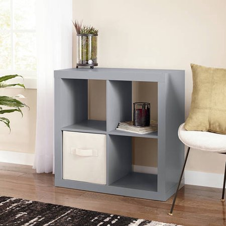 Better Homes and Gardens* Wood Storage Square Organizer 4-Cube in Gray