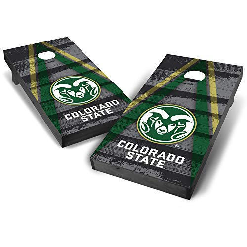 Wild Sports NCAA Colorado State Rams College Grey Authentic Cornhole Game Set Vintage Triangle Design, 2' x 4', Team Color