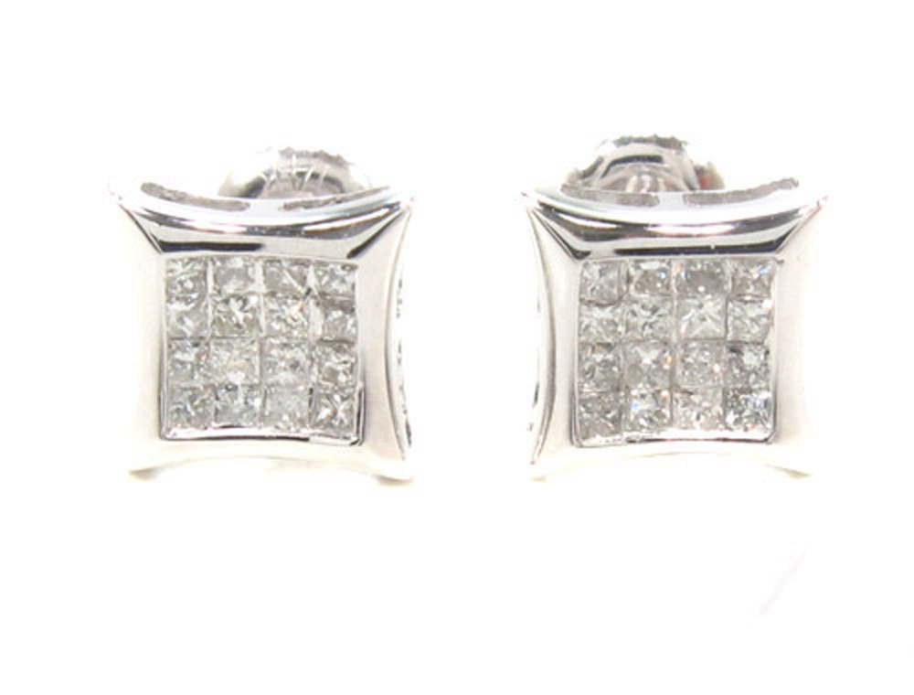 14K White Gold Invisible Diamond Stud Earrings (0.37 cttw, G Color, SI1 Clarity)