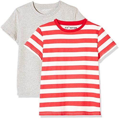 Kid Nation Kids' 2-Pack Short-Sleeve Crew-Neck T-Shirt for Boys Girls S ()
