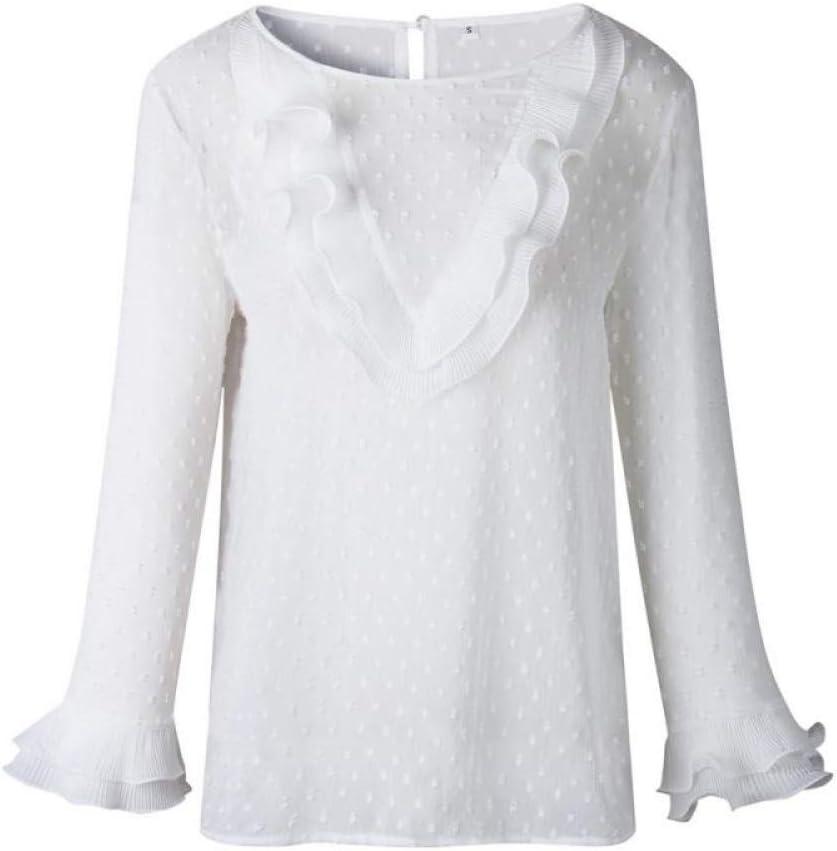 DJSHXC Blusa de Encaje Blanca con Volantes de Lunares Blusa Tops Blusas de Manga Larga con Cuello en O Botón Trasero Camisas Mujer Blusa Dulce: Amazon.es: Deportes y aire libre