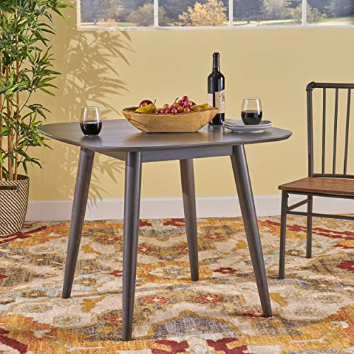 Bass Mid Century Modern Square Faux Wood Dining Table, Gray Finish