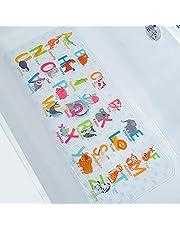 BeeHomee Kreskówka antypoślizgowa mata do wanny dla dzieci - 89 x 40 cm XL duże wymiary antypoślizgowe maty prysznicowe dla małych dzieci dzieci mata podłogowa do wanny (alfabet)