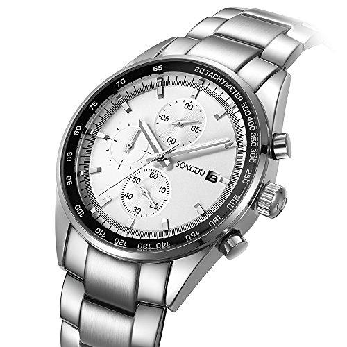 (SONGDU Men's Luxury Chronograph Quartz Watch with Stainless Steel Bracelet (Silver5))