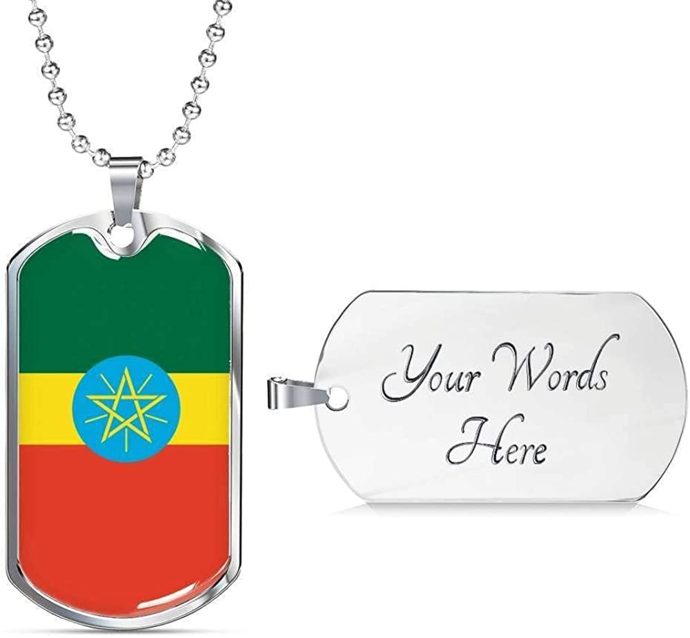 Ethiopia Flag Love My Country Handmade Necklace Stainless Steel or 18k Gold Dog