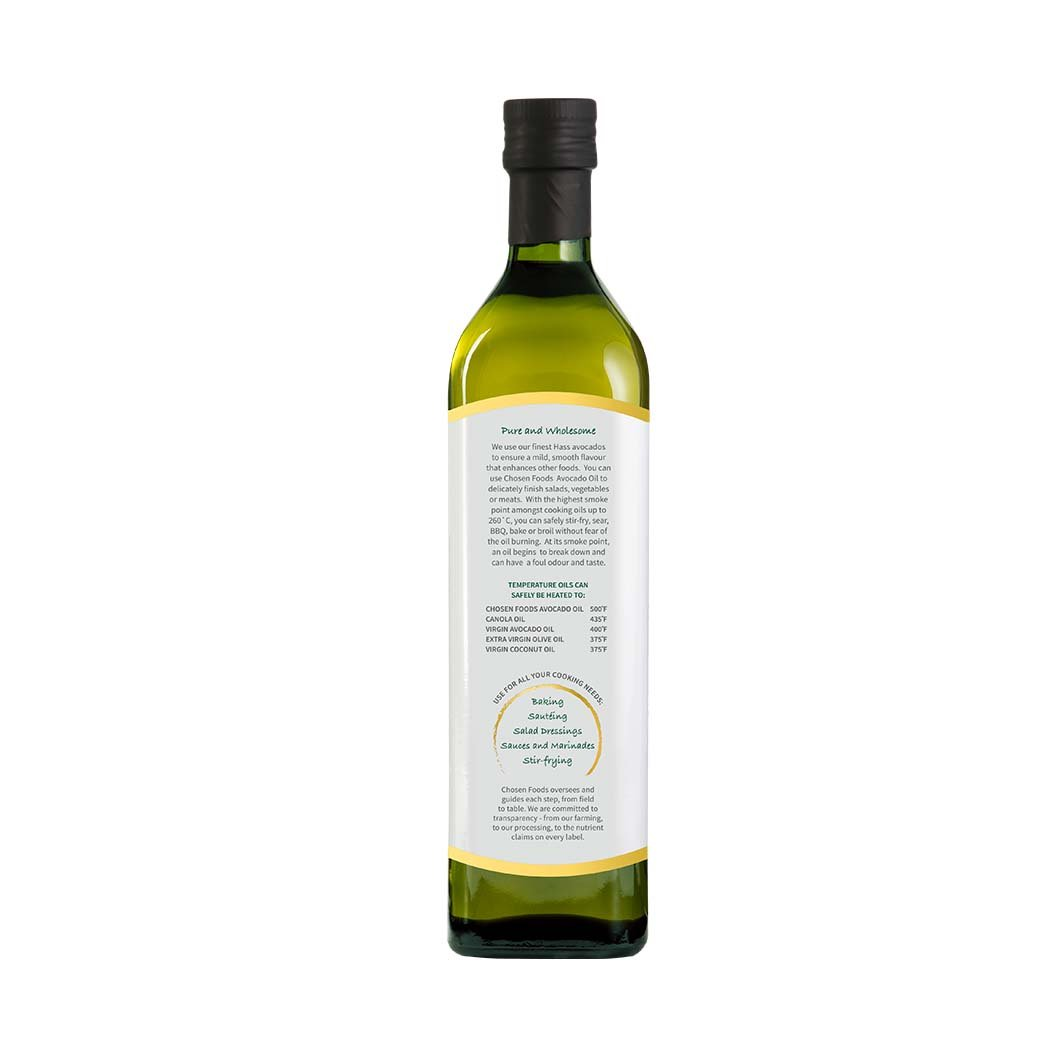 Chosen Foods 100% Avocado Oil Gold Label 25.4 oz, Non-GMO, for High-Heat Cooking, Frying, Baking, Homemade Sauces, Dressings and Marinades by Chosen Foods (Image #3)