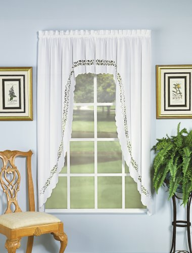 Swags Window Treatments (Today's Curtain Hellina Tapework Window Swagger, 63-Inch, White - Hellina CA1800K)