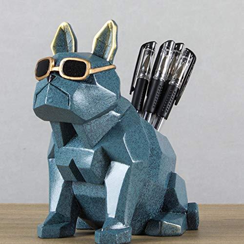 JIN MOON Perro de Robot de Adornos creativos, Viento Minimalista Moderno de Ins, portaplumas de Maquillaje, Caja de Almacenamiento de Escritorio para Oficina de Moda,Chrome