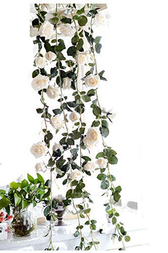 April 12 Feet Artificial Rose Vine Hanging Silk Flowers Garland Home Outdoor Wedding Garden Wall Decoration (White)