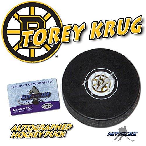 torey-krug-signed-boston-bruins-puck-w-coa-new-autographed-nhl-pucks