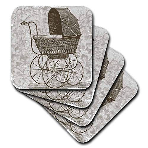 3dRose PS Vintage - Vintage Baby Buggy - Antiques - set of 4 Ceramic Tile Coasters - Baby Ceramic Buggy