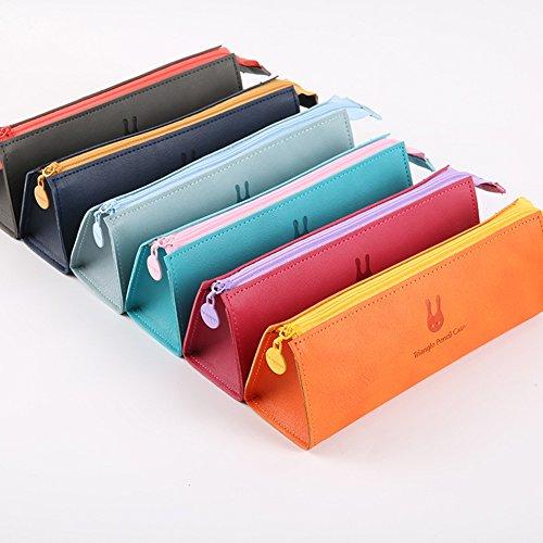 fablcrew Multifunktionale Tasche Leder-Bleistift Dreieck Box für Stifte 19.8* 6.5* 5.3CM 19.8*6.5*5.3cm Rosa / Rot Schwarz