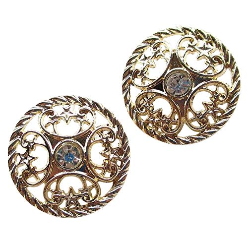 Chenkou Craft New 20pcs Gold Alloy Rhinestone Crytal Hollow Buttons 25mm Sewing Craft Lots