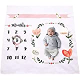 Baby Monthly Milestone Blanket | Cotton Swaddle Throw For Infant & Babies 0-3 months , 3-6, 6-9, 9-12 Photography Backdrop Photo Prop For Newborn Boy & Girl - New Mom Baby Shower Gift