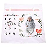 #10: Baby Monthly Milestone Blanket | Cotton Swaddle Throw For Infant & Babies 0-3 months , 3-6, 6-9, 9-12 Photography Backdrop Photo Prop For Newborn Boy & Girl - New Mom Baby Shower Gift