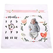 UpsideUp Baby Monthly Milestone Blanket | Throw For Infant & Babies 0-3 months, 3-6, 6-9, 9-12 Photography Backdrop Photo Prop For Newborn Boy & Girl - New Mom Baby Shower Gift