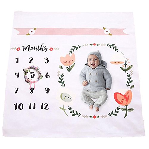 Baby Monthly Milestone Blanket | Throw for Infant & Babies 0-3 Months, 3-6, 6-9, 9-12 Photography Backdrop Photo Prop for Newborn Boy & Girl - New Mom Baby Shower Gift Upside Up