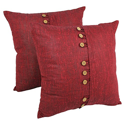 burgundy throw pillows - dark red accent pillow-Button 20