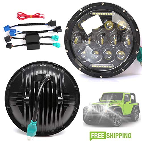 H6017 H6024 H5024 LED Round Headlight 7'' Inch 150W DRL Driving Lamps Hi/Lo Beam Pack-2 for Jeep Wrangler JK LJ CJ Hummer VW Beetle Classic