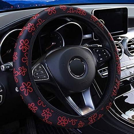 CAADDGY Auto-Lenkradbez/üge Auto-Bez/üge Passend f/ür die meisten Autos Atmungsaktivit/ät Car-Styling Anti-Rutsch-Universal Elastic Flowers Print Bunte Blumen