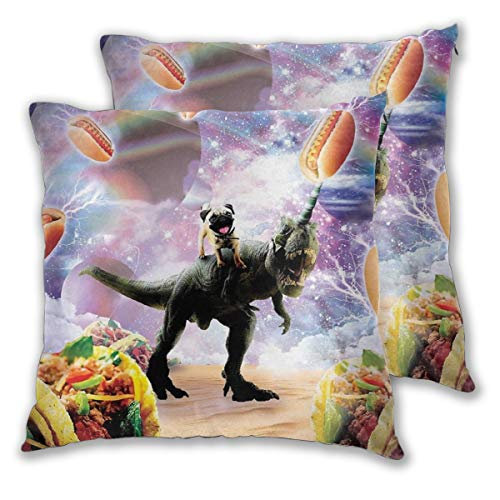 Private Bath Customiz Space Pug Riding Dinosaur Unicorn Taco Square Throw Pillow Case Pillow Cover with Two Pillowcases Bedding Set 2 Pcs 22 X 22 Inch ()