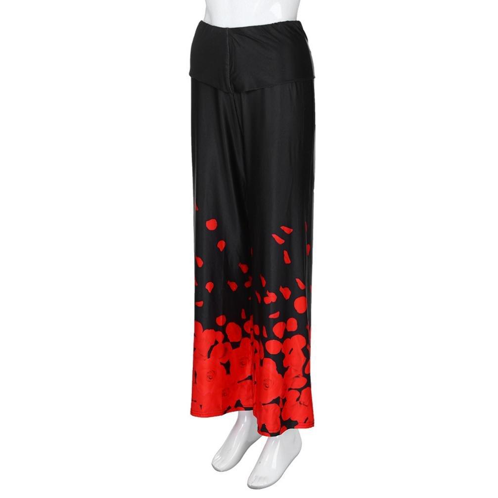 Zarup/♥/♥/♥Pantalones flojos ocasionales de la pierna de las mujeres m/ás pantalones flojos impresos del p/étalo de Rose del tama/ño
