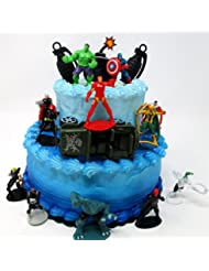 Super Hero AVENGERS CREW Birthday Cake Topper Set with Avengers Character Figures and Decorative Themed Accessories