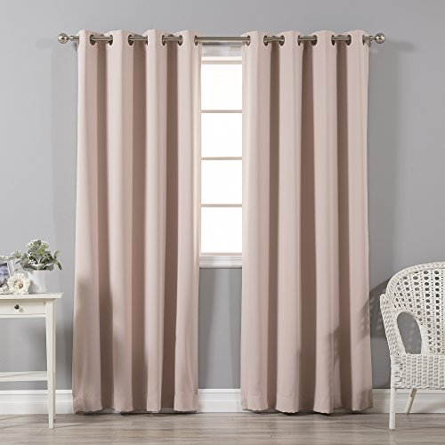 Best Home Fashion Thermal Insulated Blackout Curtains - Antique Bronze Grommet Top - Dusty Pink - 52