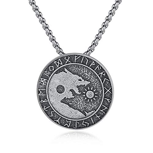 - Holyheart Viking Wolf Necklace, Sons of Fenrir Pendant, Swallow The Sun and Sevour The Moon, Pagan Nordic Amulet Necklace, Original Animal Jewelry, Handmade Viking Necklace Gift for Men Unisex