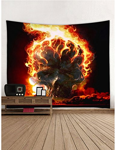 Muuyi Skulls Decorations Collection Tapestry, Hell's Flame and Skeleton Skull Design Skeletons All Saints Day Halloween Image, Bedroom Living Room Dorm Wall Hanging, Green Red - 60x51 Inches