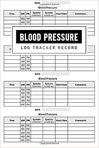 Blood Pressure Log Record Health Planner Blood Pressure Tracker