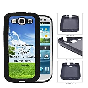 Genesis 1:1 Bible Verse with Tree & Sky Background [Samsung Galaxy S3 I9300] PC Silicone Hard Cell Phone Case