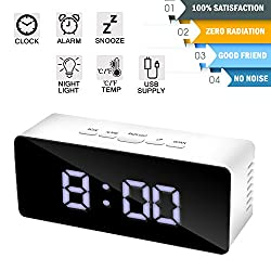 Alarm Clock Digital Large LED Display Mirror Clock Battery Operated USB Portable Modern Smart Snooze Silent Date Time Temperature Clock for Heavy Sleepers Bedroom Kitchen Office Travel (white)